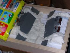 紙粘土で地形を作る