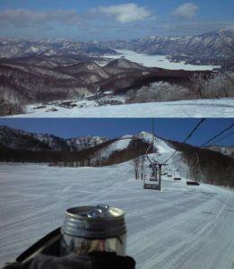 猫魔スキー場から広がるパノラマ(写真上)と気付け薬w服用中の様子(写真下)