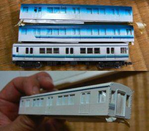 東武3070系・帯から塗り直し・・・