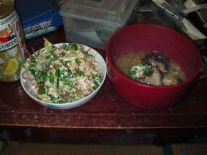 ブロッコリーの中華風スープと白和え風サラダ