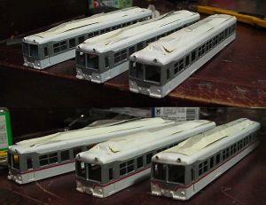 富山地鉄14760キットを組む(12:白塗装・赤帯・銀サッシ)