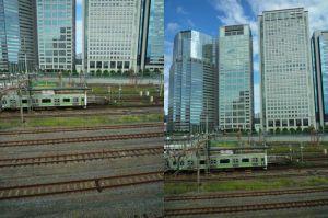 ビルと鉄道で水平垂直比較