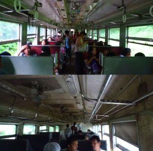 ミャンマー キハ47とキハ58の車内