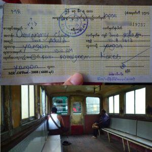 ミャンマーの乗車券と客車