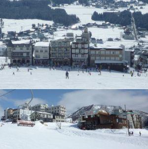 岩原スキー場の真ん中のレストラン街
